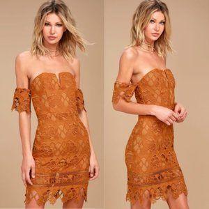 Revolve J.O.A. Lace Cold Shoulder Mini Dress